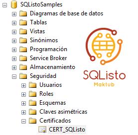 Crear certificado en SQL Server