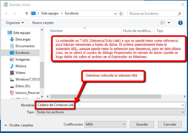 Crear cadenas de conexion con archivos UDL