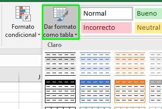 formato como tabla SSRS